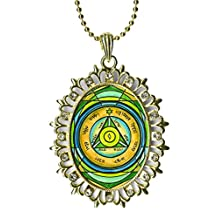 Solomons 4th Seal Saturn for Gaining Control & Good News Huge Light Gold Medallion Rhinestone Pendant