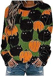 Tophoopp Halloween Sweaters for Women, Women's Long Sleeve Hoodies Bat Printed Sweatshirts Casual Pullover