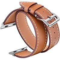 V-Moro Compatible 42mm 44mm Apple Watch Band Women, Double Tour Genuine Leather Band Bracelet Replacement Wristband Strap for Apple Watch Series 4 Series 3 Series 2 Series 1, Hermes (42mm Small)