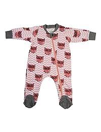 Fab-ganics Organic Cotton Baby Girls Romper Pajama Sleeper-full zipper/footie