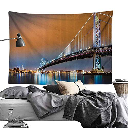 Homrkey Bed Linen Tapestry Apartment Decor Collection Ben Franklin Bridge and Philadelphia Skyline Viewed from Camden Across The Delaware River Wall Hanging W70 x L59 Peach]()