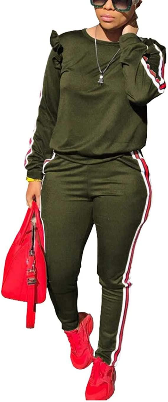 Long Sleeve Pullover Sweatshirt and Jogging Pants Set Akmipoem Womens 2 Piece Tracksuit Outfits