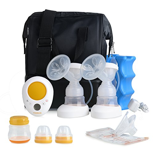 Check Out This MADENAL Double Electric Breast Pump Travel Set, Ice Pack, Breastmilk Storage Bags, Su...