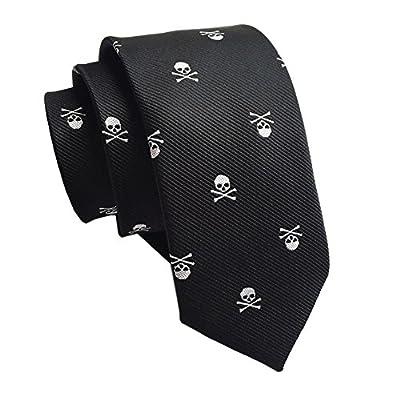 Secdtie Men's Skinny Silk Tie Repp Skull Jacquard Woven Casual Halloween Necktie