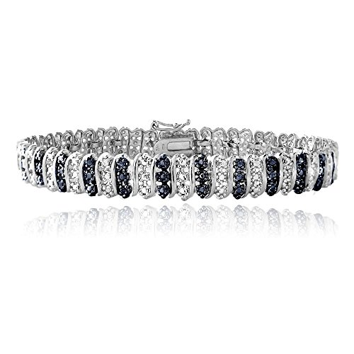 927 Silver Blue Diamond Accent S Pattern Tennis Bracelet by Jawa Fashion