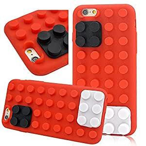 Seedan Bricks Design Soft Case for iPhone 6 (4.7 inch) Red Style Jelly Candy Color Rubber Cover Skin Protector