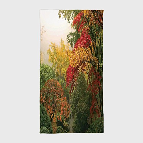 Cotton Microfiber Hotel SPA Beach Pool Bath Hand Towel,Country Home Decor,Maple Trees in the Fall at Portland Japanese Garden One Foggy Morning Scenery,Red Yellow Green,for Kids, Teens, and Adults from iPrint