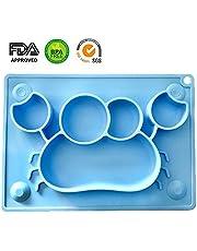Teller für Baby, BPA-Freies Silikon Baby Tischset mit Saugnapf Rutschfest FDA Zugelassenes die Meisten Esstische und Hochstuhl Tabletts (Blauwal)