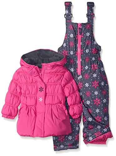 Pink Platinum Baby Girls' Snowflake Printed Snowsuit, Pink Glow, 12 Months