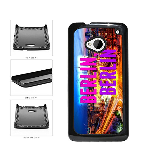 Berlin City Skyline Plastic Phone Case Back Cover For HTC One M7 comes with Security Tag and MyPhone Designs(TM) Cleaning Cloth - Dusk Berlin