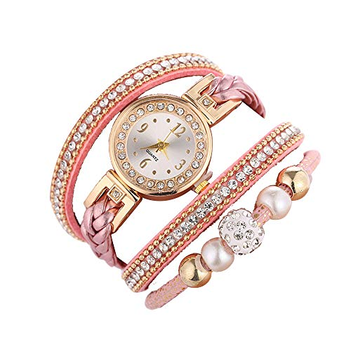 - Ladies Watch Beautiful Fashion Bracelet Wristwatch Round bracelet watch 2019 Deals! Lover Gift Holiday present (Pink)