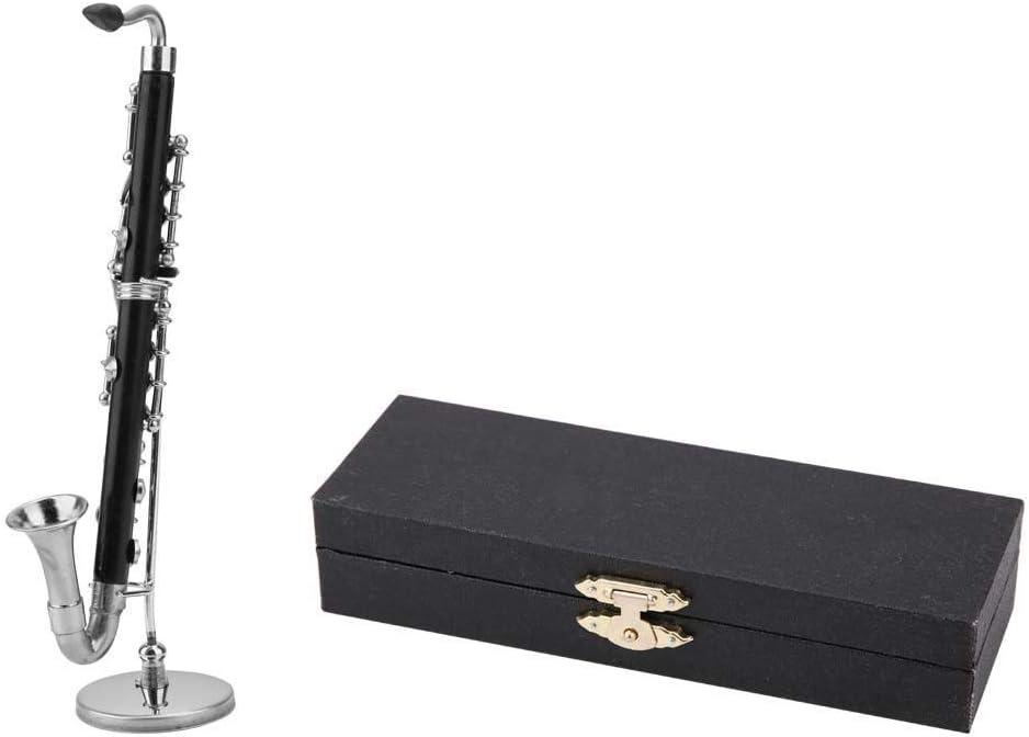 FTVOGUE Modelo de Clarinete Bajo En Miniatura con Soporte Y Estuche Accesorios de Casa de Muñecas Mini Adornos de Instrumentos Musicales: Amazon.es: Hogar