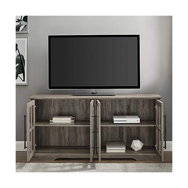 """Walker Edison Farmhouse Barn Glass Wood Universal Stand for TV's up to 64"""" Flat Screen Living Room Storage Cabinet Doors and Shelves Entertainment Center, 58 Inch, Grey"""