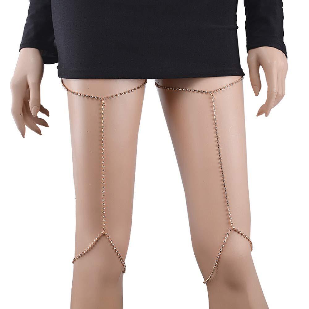 DaoAG-Accessories Crystal Leg Chain for Women & Girls Rhinestone Leg Thigh Chain Sexy Shiny Body Chain Jewelry Nightclub Party Body Chain Summer Beach Party Body Jewelry (Gold)