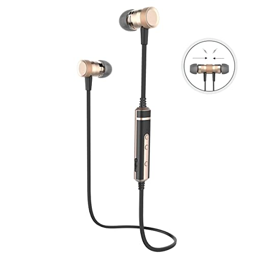 Picun H6 Bluetooth Earphones, Wireless Bluetooth Headphones, Bluetooth Version 4.1 Earbuds with Microphone, Volume Control, Ergonomic Earbuds for Sport, Smartphones, Tablets and other Bluetooth-enabled Devices (Black Gold)