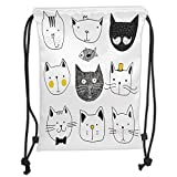 Custom Printed Drawstring Sack Backpacks Bags,Cat,Stylish Cats with Moustache Bow Tie Hat Crown Fluffy and Fish Humor Faces Graphic,Yellow Grey Soft Satin,5 Liter Capacity,Adjustable String Closure,Th