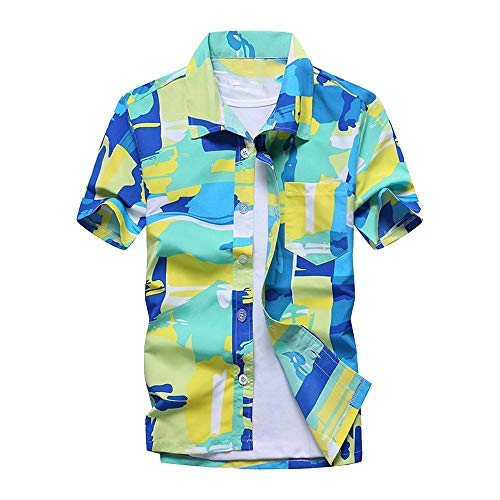 AiWoo dress Men's Summer Hawaiian Shirts Single Breasted Light Beach Shirts Short Sleeve Breathable Shirts,XX-Large,G