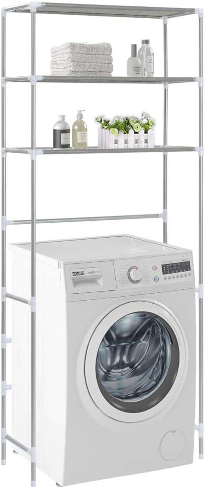 vidaXL Scaffale per Lavatrice con 3 Ripiani Argento 69x28x169 cm Scaffalatura Utile Pratica Comoda Funzionale Soluzione Salvaspazio Robusta Solida