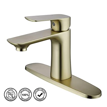 Phenomenal Bathroom Sink Faucet Hmegao Single Bathroom Faucet Brushed Gold With Cupc Supply Hose 10 Inch Deck Plate And Neoperl Bubbler Lead Free Copper Home Interior And Landscaping Mentranervesignezvosmurscom