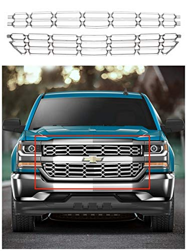 - HX New Chrome Grille Overlay Snap On Insert Fits for 2016-2018 Chevy Silverado 1500