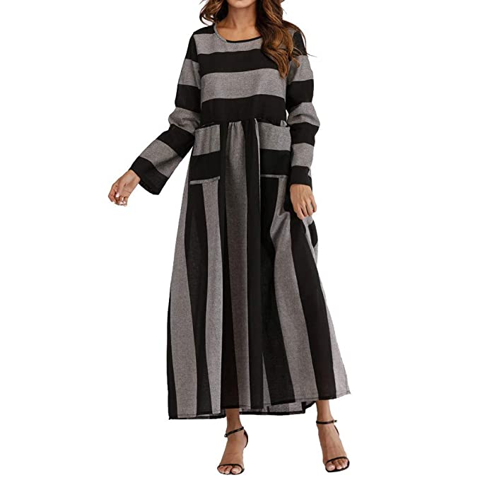 5f97945aa Sylar Vestidos De Fiesta Mujer Largos Falda Estampado De Rayas ...