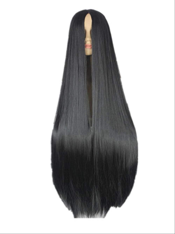 Mhsm Peluca Negro Wig 40 Pulgadas Sintético Resistente Al Calor ...