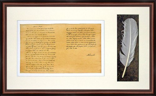 The Gettysburg Address by Abraham Lincoln. High Quality Replica. Professionally Framed in the Dark Walnut Colonial Style with Black Trim Real Wood Frame. Genuine Parchment & Quill (25.5 x ()