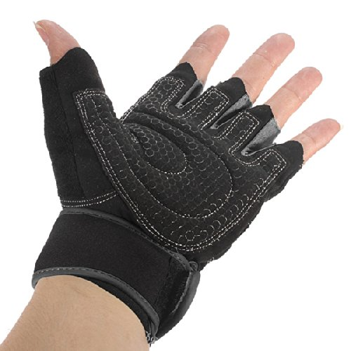 L X Sports Exercise Gloves Weight Lifting Gym Training Workout Wrist Wrap (Black)