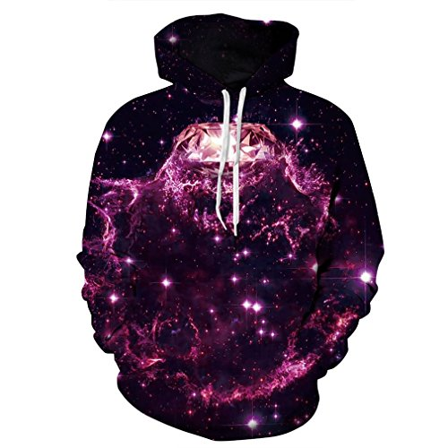 SAYM Unisex Galaxy Pockets 3D Pullover Hoodie Hooded Sweatshirts Hoodies NO45 XL