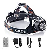 Rechargeable LED Headlamp 2000Lm Zoomable 3 Mode Handsfree Headlight Water-resistant Outdoor Flashlight Torch with 18650 Batteries Car Charger and AC Charger for Camping Hunting Hiking Reading(Black)