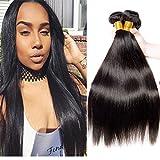 Cheap VIPbeauty Hair Virgin Straight Hair 3 Bundles 100% Brazilian Unprocessed Human Hair Weave Bundles Human Hair Extensions 3 Bundles Deal Natural Black(12 14 16)