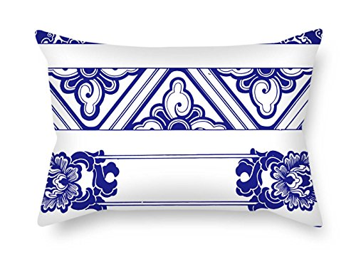 Throw Pillow Covers Of Chinese Style Blue And White Porcelain For Lounge Girls Dance Room Play Room Lover Lounge 16 X 24 Inches / 40 By 60 Cm(twice Sides)