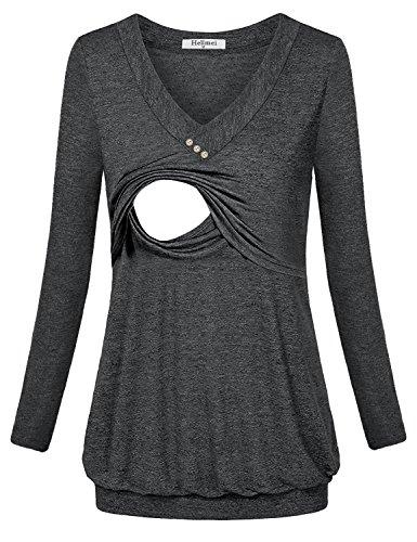 Hellmei Trendy Tops for Women 2018,Breastfeeding Shirts for Women, Long Sleeve Banded Hem Pleated Flattering Blouse Tunic Shirts for Women Black Grey Medium by Hellmei (Image #4)