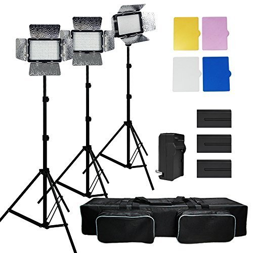 Julius Studio 3x 216 Barndoor Continuous LED Video Lighting kit Dimmable Panel Camera, for Canon, Nikon, Sony and DSLR Cameras, Li-Ion Battery and Charger,Color Filters,Premium Carry Bag, JSAG159 by Julius Studio