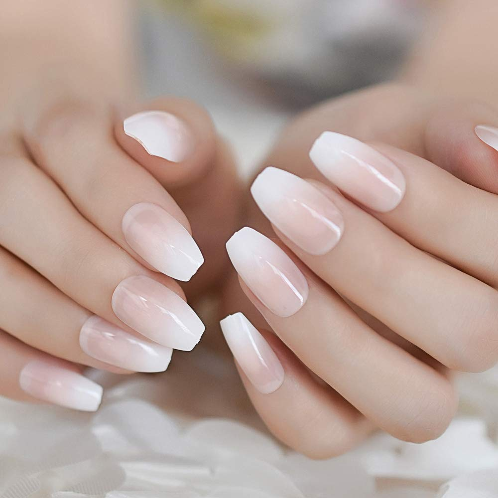Amazon Com Ombre French Ballerina Fake Nail Gradeint Natural