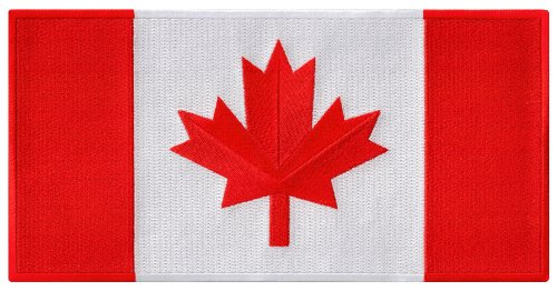 Large Canada Flag Embroidered Patch Canadian Maple Leaf Iron-On National ()