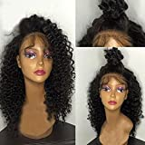 Eversilky Hair Deep Curly Brazilian Lace Front Wig Virgin Hair Glueless Lace Front Human Hair Wigs with Baby Hair Lace Front Wigs for Black Women 16 Inches