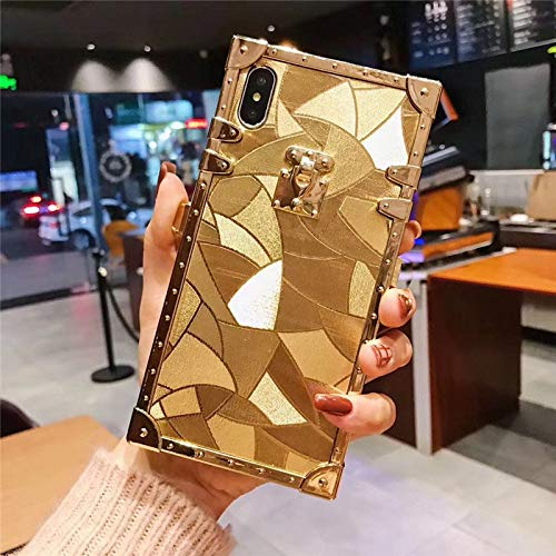 Galaxy Note 9 Square Gold Case,ZBCLV Fashion Design 3D Square Glitter Gold Soft TPU Trunk Case Cover for Man Women Girls Gift for Samsung Galaxy Note 9 (2018),B