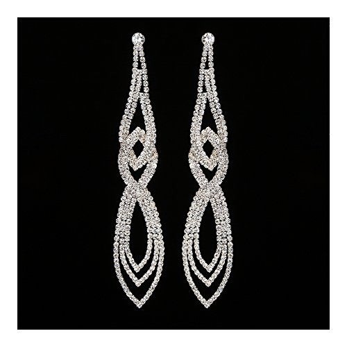 Extra Long Fashion Statement Silver Gold Black Rhinestone Crystal Drop Earrings or Bracelet Bridal Wedding Jewelry (Extra Long 2)