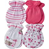 Gerber Baby Girl's 4 Pack Mittens Accessory, Lil' flowers, 0-3 Months