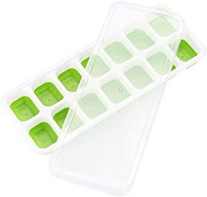 Youmymine Ice Cube Trays 2 Pack, Easy-Release Silicone and Flexible 14-Ice Trays with Removable Lid, Stackable and Dishwasher Safe (Multicolor)