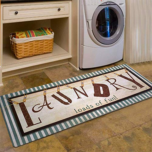 USTIDE Vintage Style Laundry Room Waterproof Floor Runners Non Skid Kitchen Floor Mat Farmhouse Washhouse Mat Bathroom Rugs Non-Slip Rubber Area Rug (20