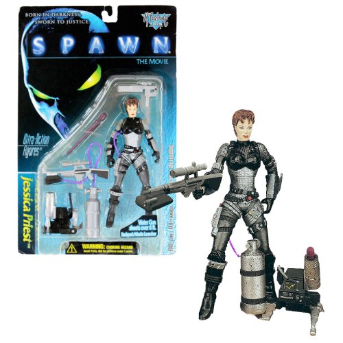 Todd McFarlane's Toy Year 1996 Spawn Movie Series Ultra Class 6 Inch Tall Action Figure - JESSICA PRIEST with Sub-Machine Gun, Backpack Missile Launcher with 1 Missile and Sniper Rifle that Shoots Water