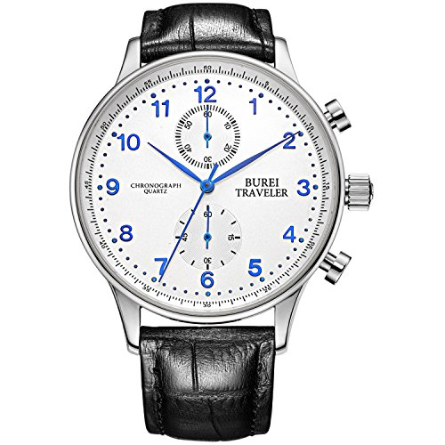 (BUREI Mens Business Casual Chronograph Quartz Dress Watches with Big Face Traveler Style Leather Band (blue-1))