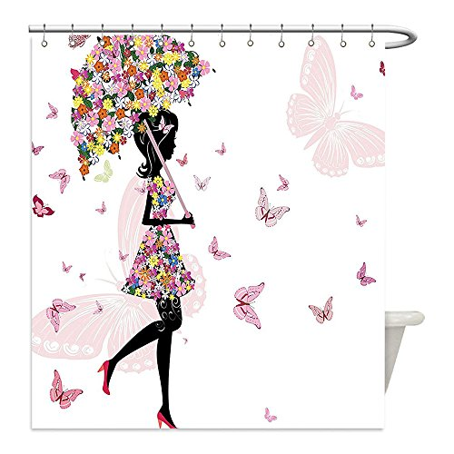 Liguo88 Custom Waterproof Bathroom Shower Curtain Polyester Girly Decor Girl with Floral Umbrella and Dress Walking with Butterflies Inspirational Artsy Print Decor Pink Black Decorative bathroom