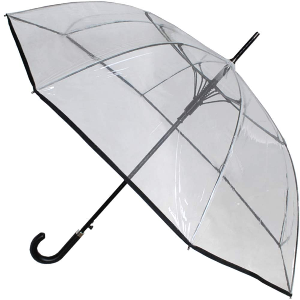 COLLAR AND CUFFS LONDON - Windproof 60MPH EXTRA STRONG - StormDefender Clear Canopy - 43in Diameter, 53in Arc - Reinforced Fiberglass Frame Umbrella - Auto Open - Leather Style Hook Handle by COLLAR AND CUFFS LONDON