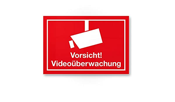 Vorsicht Videovigilancia Cartel (Rojo, 30 x 20 cm ...