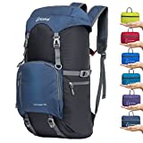 ZOMAKE 40L Lightweight Packable Backpack for Travel - Large Foldable Hiking Daypack Water Resistant((Jewelry Blue)