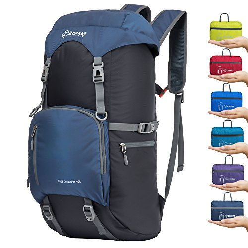 ZOMAKE 40L Lightweight Packable Backpack for Travel - Large Foldable Hiking Daypack Water Resistant((Jewelry Blue) by ZOMAKE