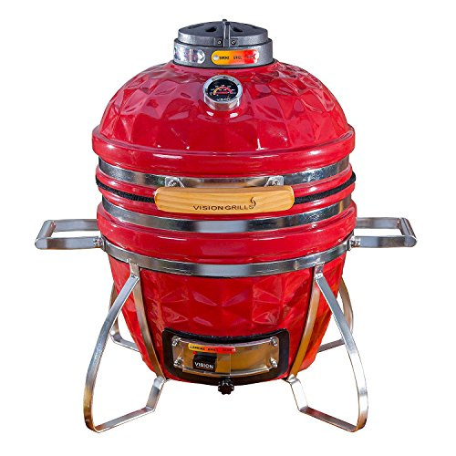 Vision Grills Diamond-Cut Cadet Kamado Grill (Crimson Red) For Sale
